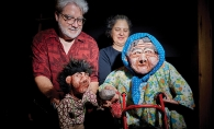 Z Puppets Rosenschnoz founders Shari Aronson and Chris Griffith hold two puppets.