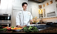Chef Marshall O'Brien prepares a healthy meal in his home kitchen.