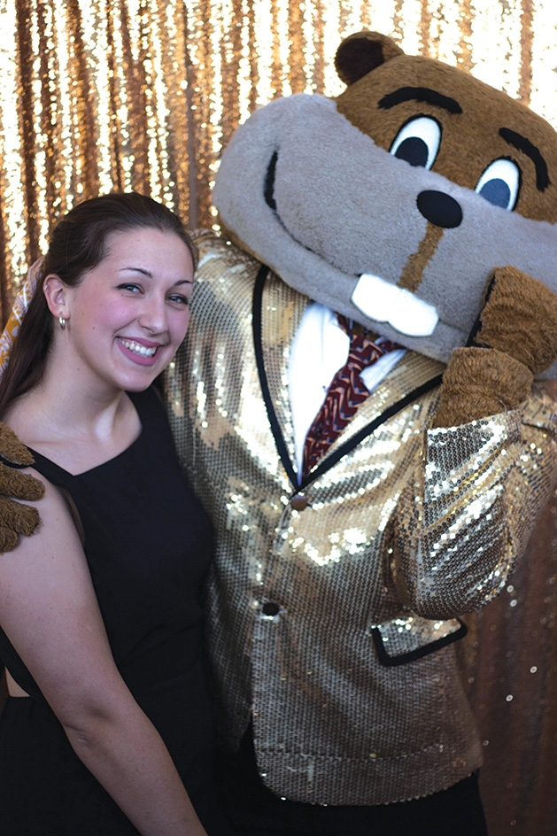 Annika Clouse with Goldy Gopher at the University of Minnesota's Women in Business gala.