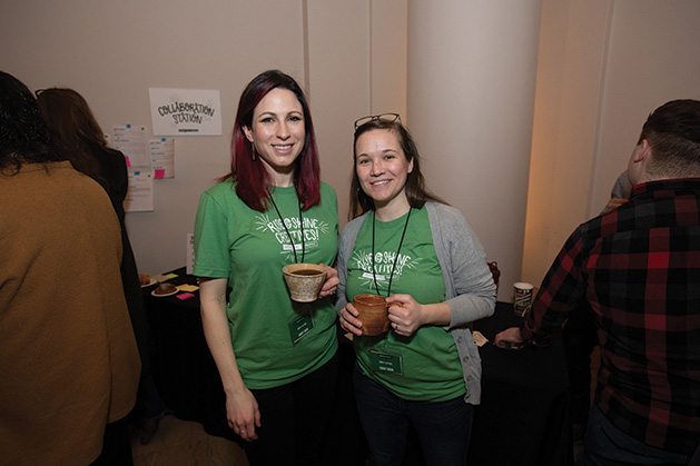 Creative mornings volunteers Stephanie Domrose and Sarah Marsh Olson.