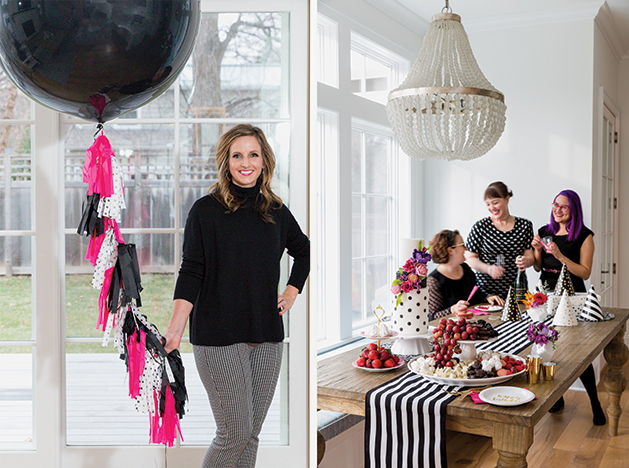 Jackie Walter, founder of Sprinkles & Confetti, holds a balloon, with a party happening in the background.