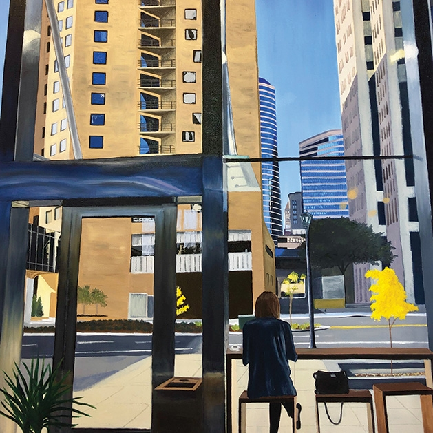 A painting of a storefront by Northeast Minneapolis artist Brendan Kramp