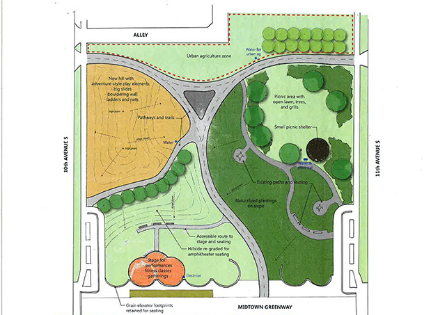 A concept plan for a new park in South Minneapolis at the Cepro site next to the Midtown Greenway.