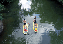 Two paddle boarders on the water in the channel between Lake of the Isles and Cedar Lake.