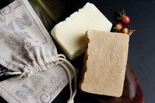 Bars of plastic-free shampoo and conditioner bars from MN NAF! salon.