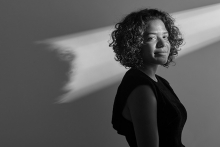 A black and white shot of St. Louis Park High School senior Zoe Younger, one of 2019's Standout Scholars.