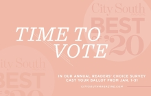 A graphic announcing voting for the 2020 Best of City South Magazine readers' choice survey