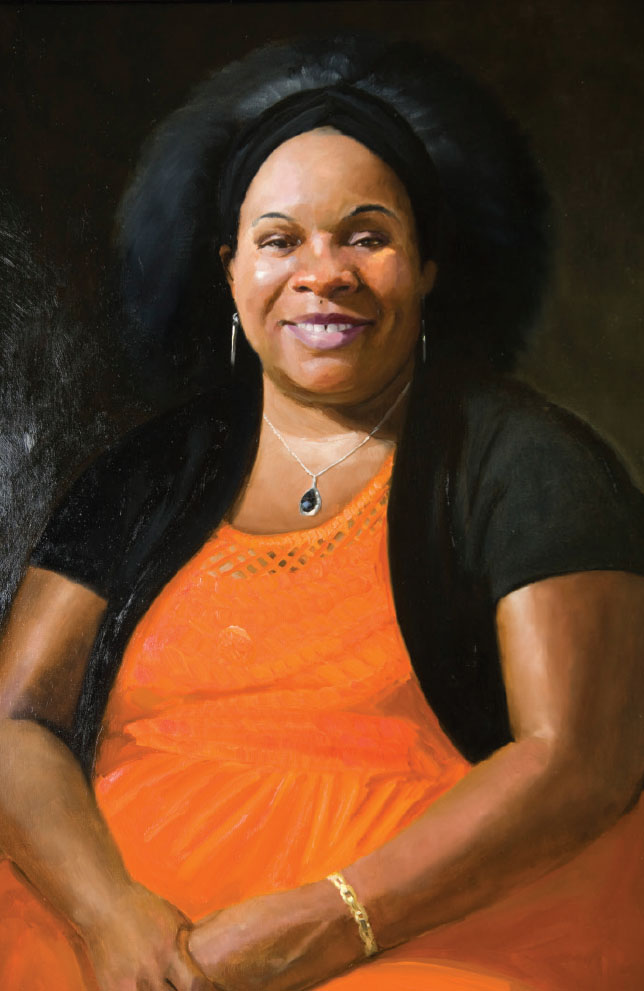 Artist Joe Burns' portrait of Rebecca, an immigrant from Zimbabwe.